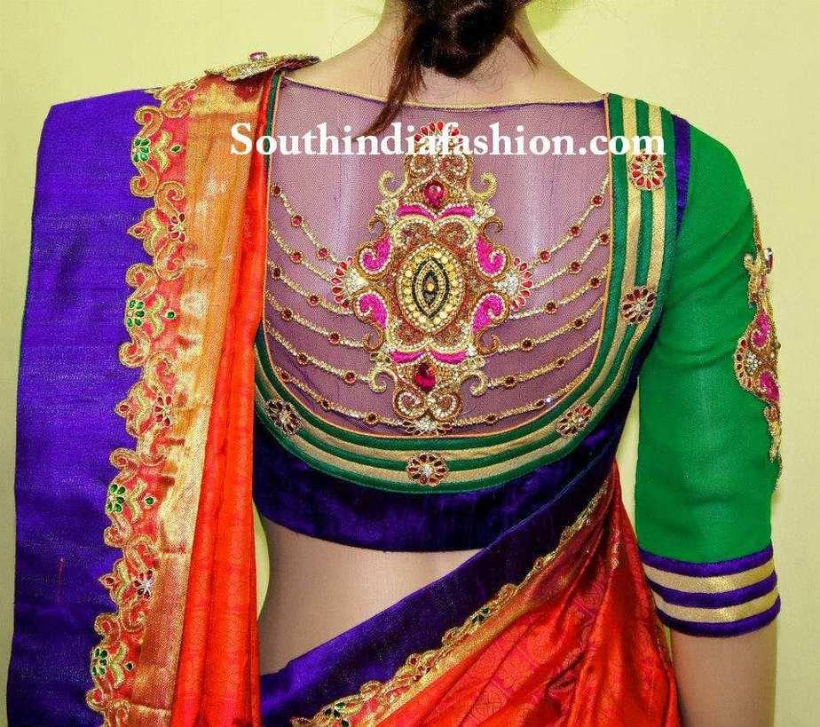 net bridal saree blouse designs