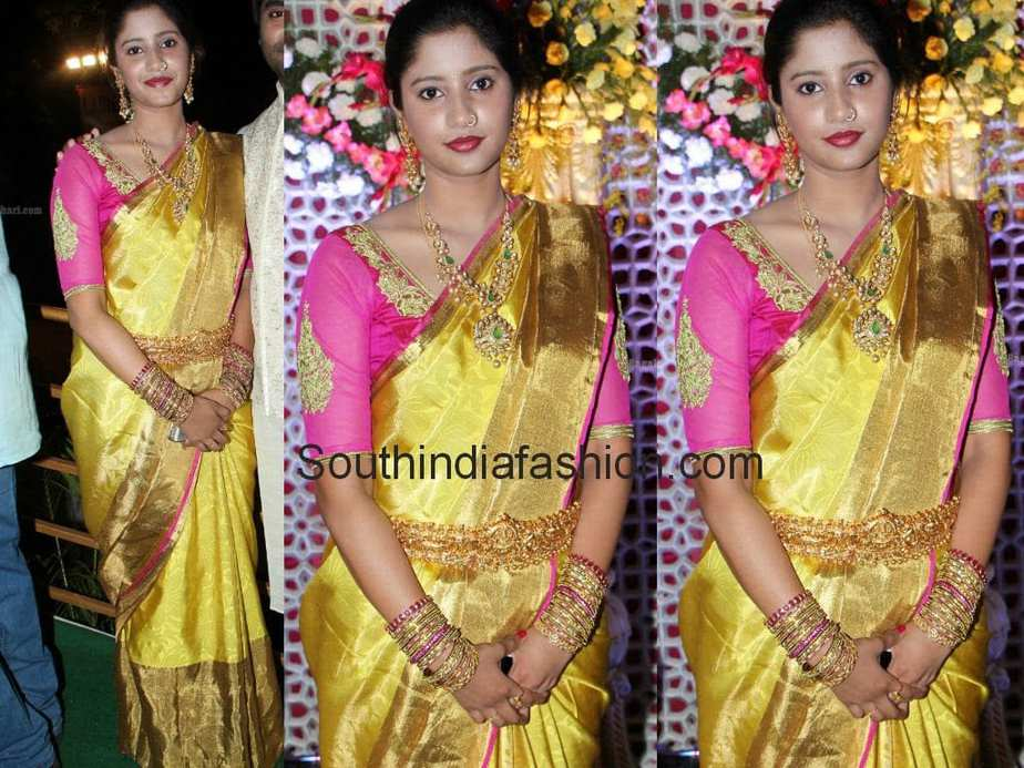 Celebrity In Golden Yellow Bridal Saree South India Fashion