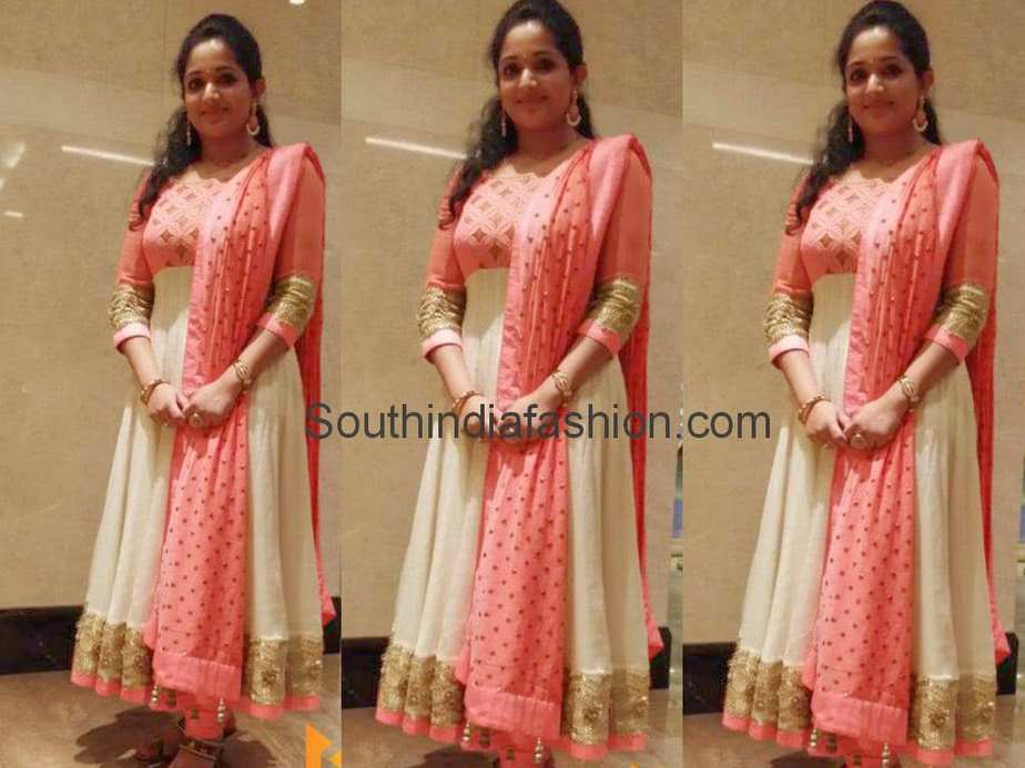 Kavya Madhavan in White and Peach Anarkali – South India ... Sabyasachi Anarkali 2014
