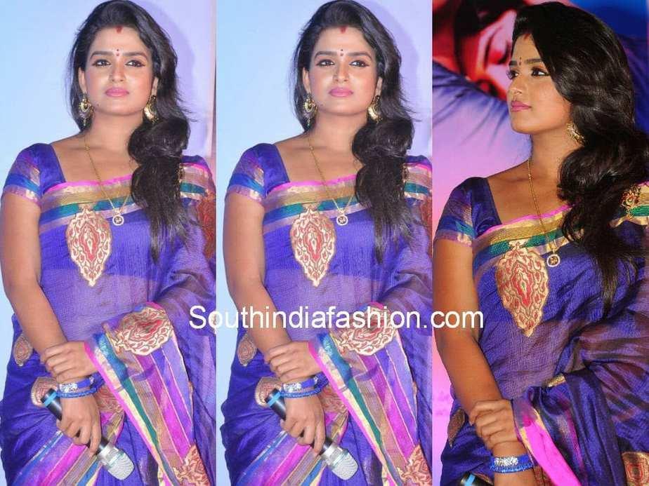 Tv Actress Srivani In Kota Silk Saree South India Fashion