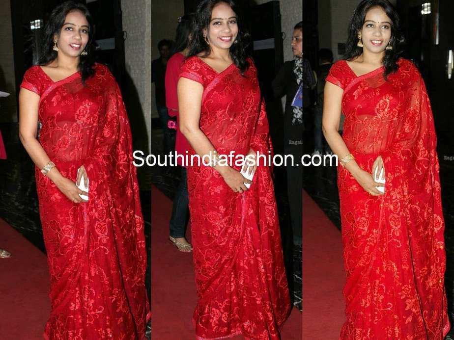 mm sreelekha in red saree