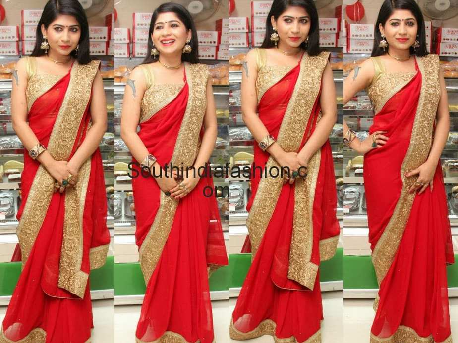 Red Saree with Gold Border – South India Fashion