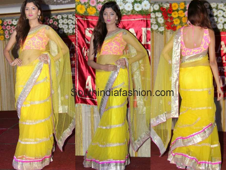 Nadigaiyar Thilagam Is Based On Gossip And Reality Is: Aliya In Yellow Lehenga Saree –South India Fashion