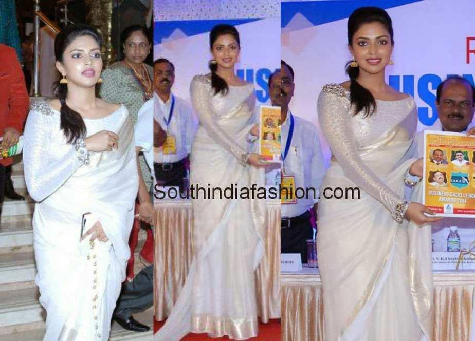 amala paul in purnima indrajith white traditional saree