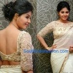 Anjali in Off White Saree and Boat Neck Blouse