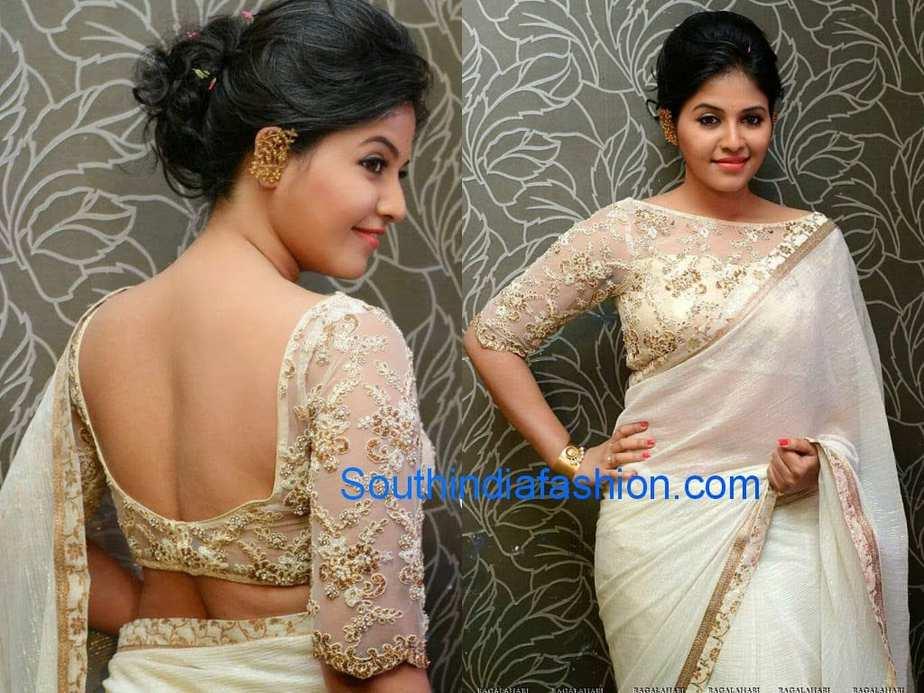 Actress Anjali sported off white shimmer crushed chiffon plain saree ...