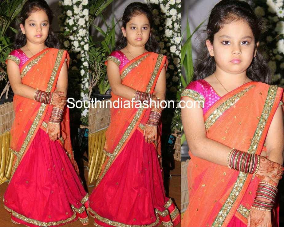 cute little in half saree u2022 south india fashion