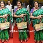 Latha Rajinikanth in Green Uppada Silk Saree