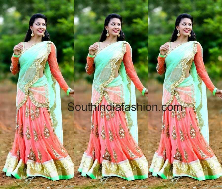 designer half sarees by mugdhaartstudio
