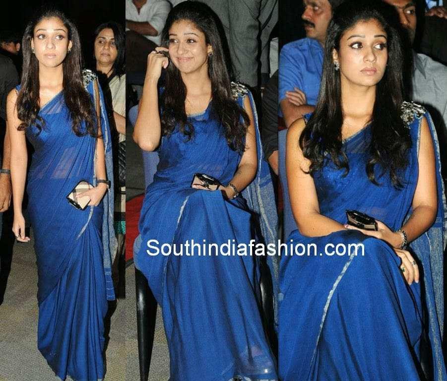 nayanthara blue saree