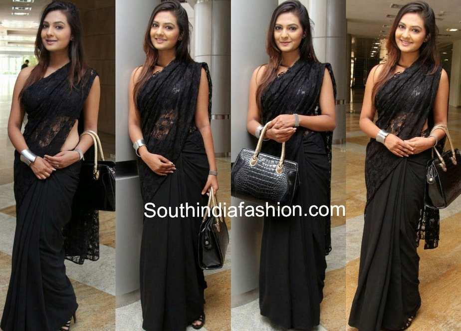 celebrity black sarees