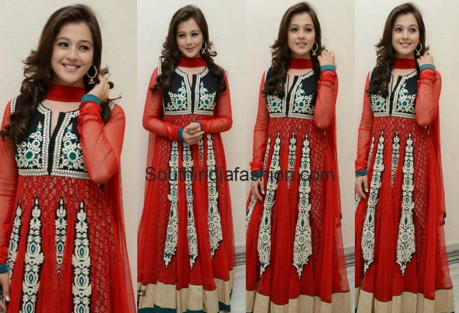 red floor length anarkali