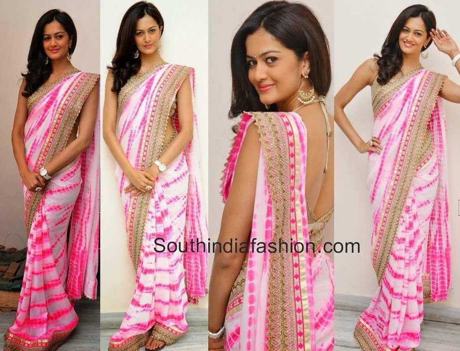 shubra aiyappa in tie and dye saree