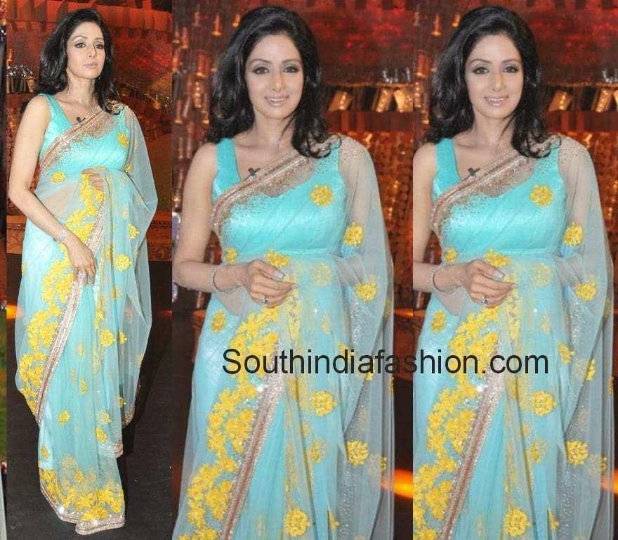 sridevi in blue sarees