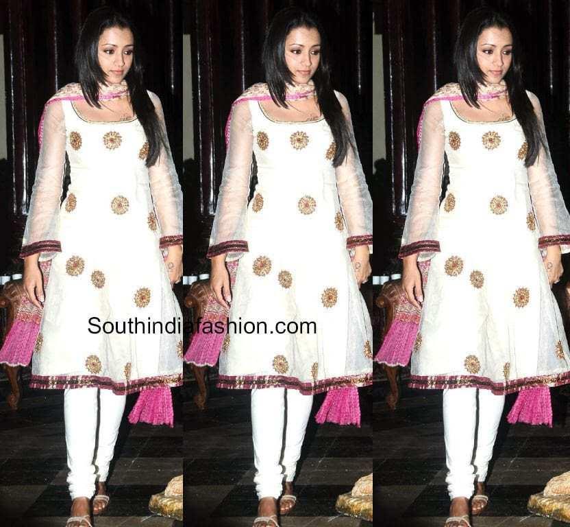 527644ca67 Trisha in White Salwar – South India Fashion