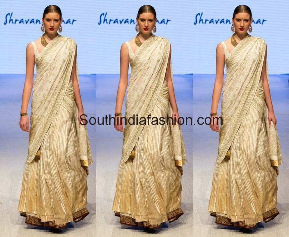 off white half saree