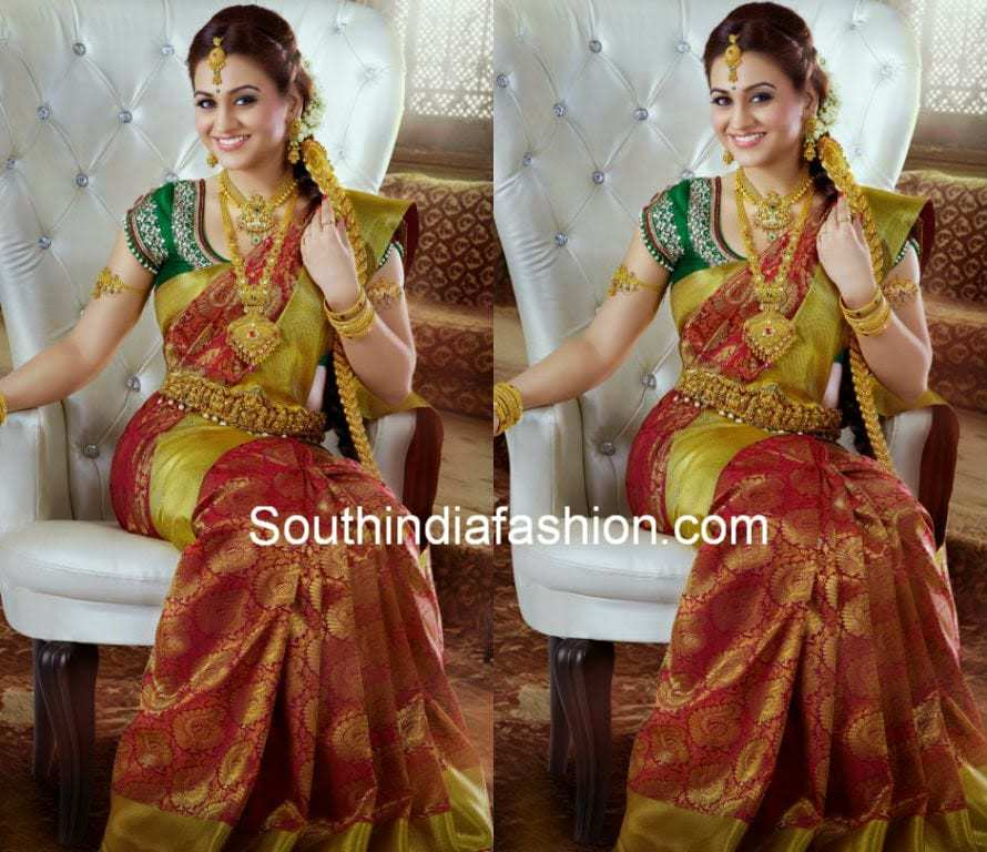 aksha in bridal saree