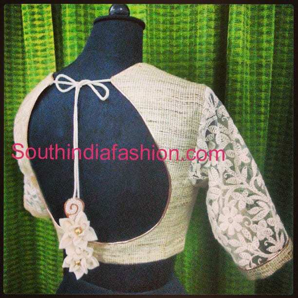 quarter sleeves blouse with net sleeves