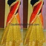 Red and Gold Designer Half Saree by Mugdha's