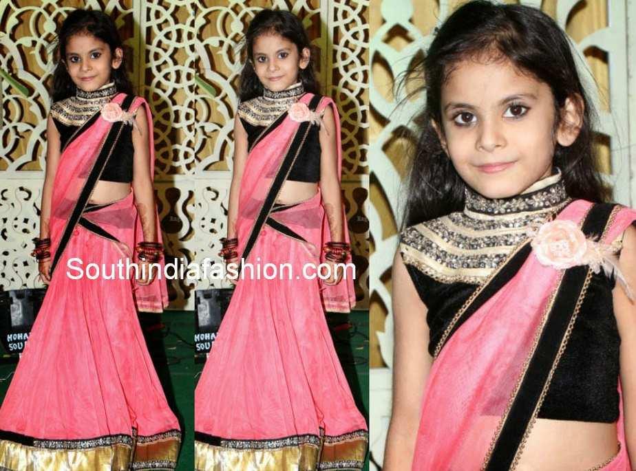 little girls in half sarees