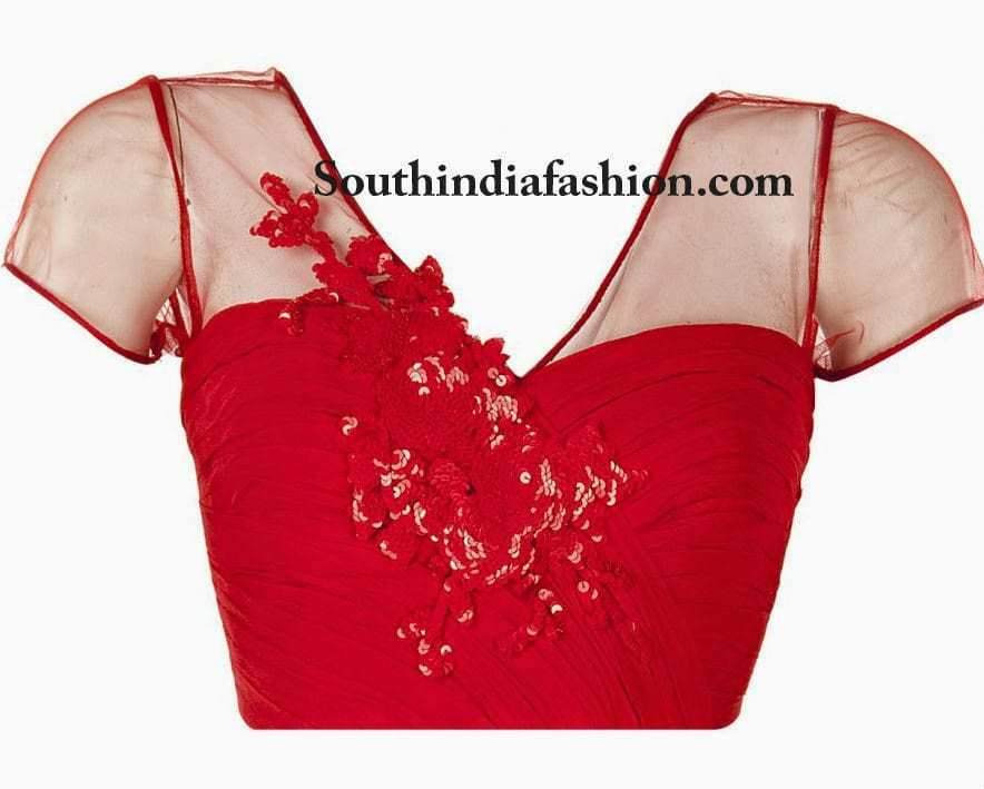 Red Blouse With Sheer Net Panels
