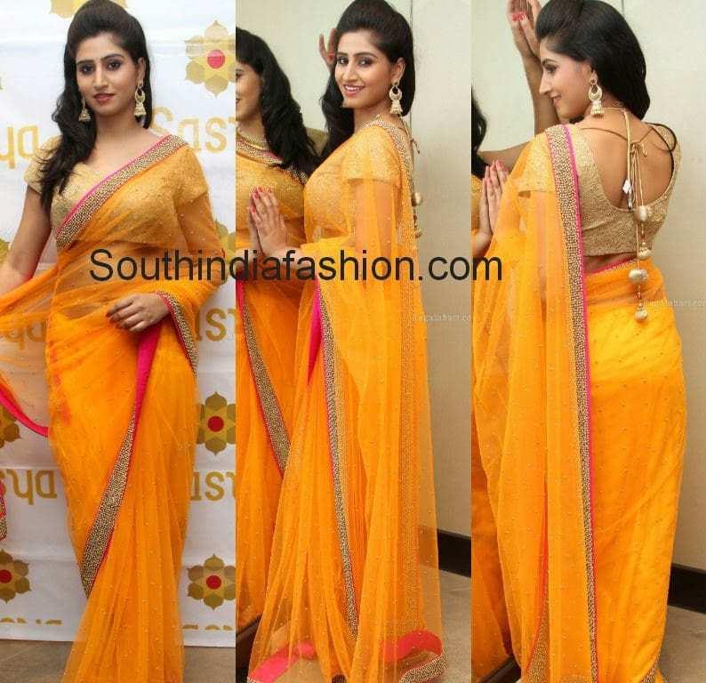 shamili yellow net saree