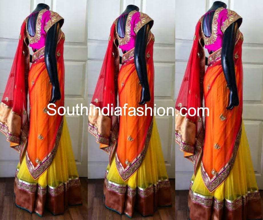 Party Wear Half Saree in Vibrant Colors