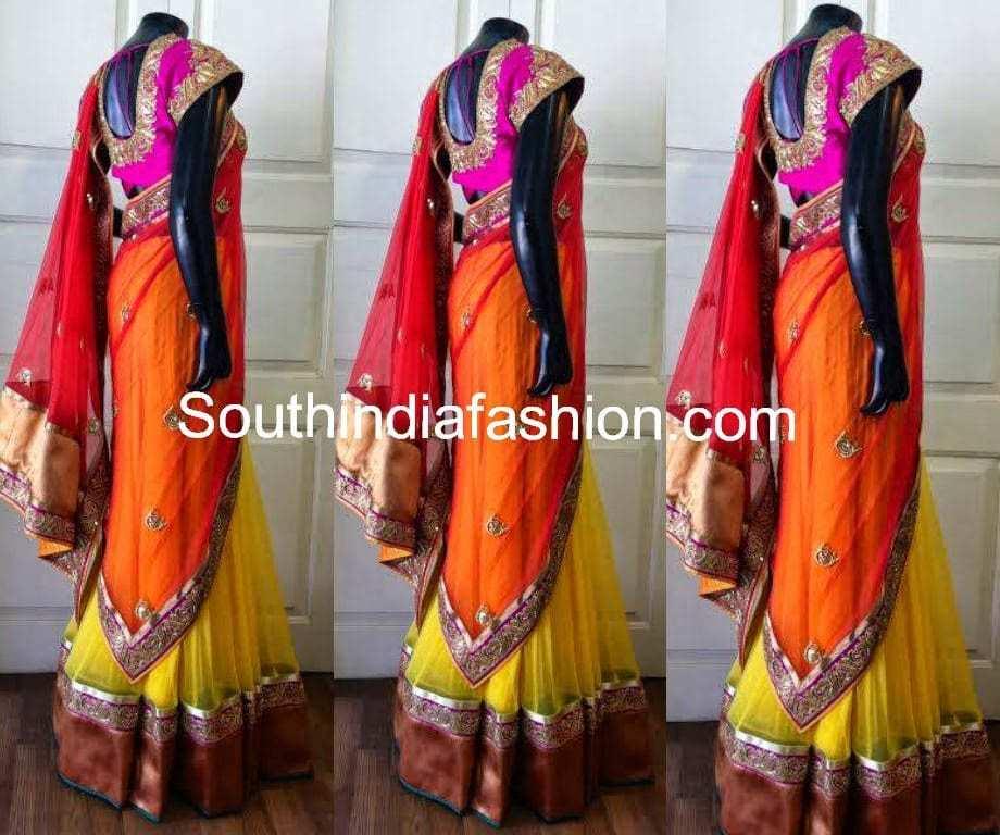 Party Wear Half Saree in Vibrant Colors
