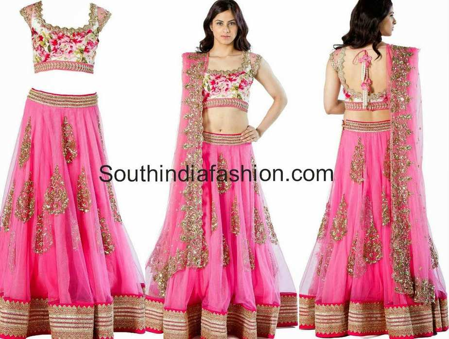 Lovely Pink Half Saree Lehenga By Anushree Reddy South