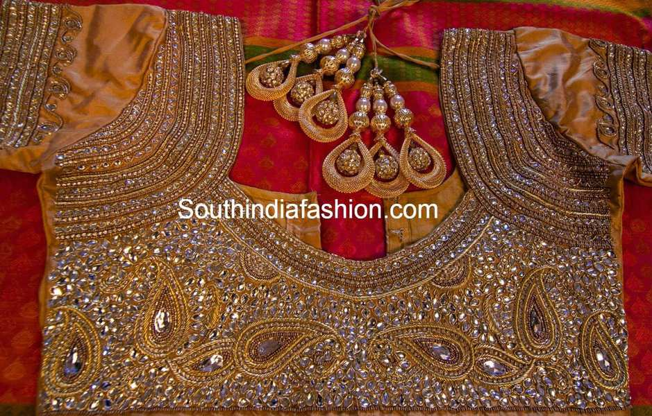 Heavy kundan work bridal saree blouse south india fashion