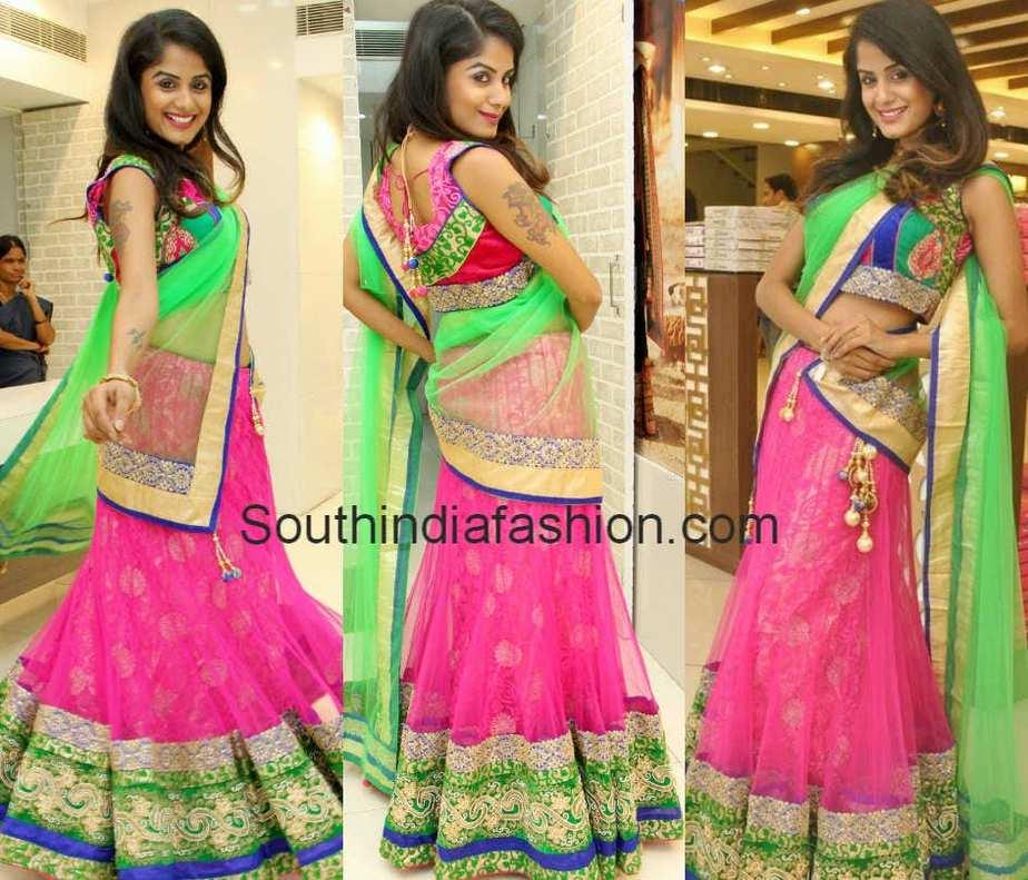 green and pink bridal half saree