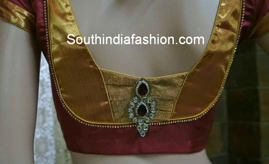 Stylish Blouse Back Neck Pattern For Silk Sarees South