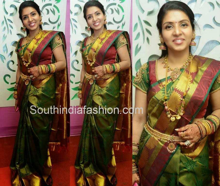 Priyadarshini in Green Silk Saree –South India Fashion Sabyasachi Bridal Collection 2014