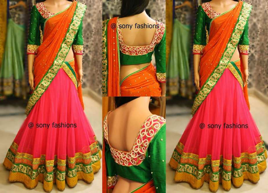 Beautiful Designer Half Saree South India Fashion