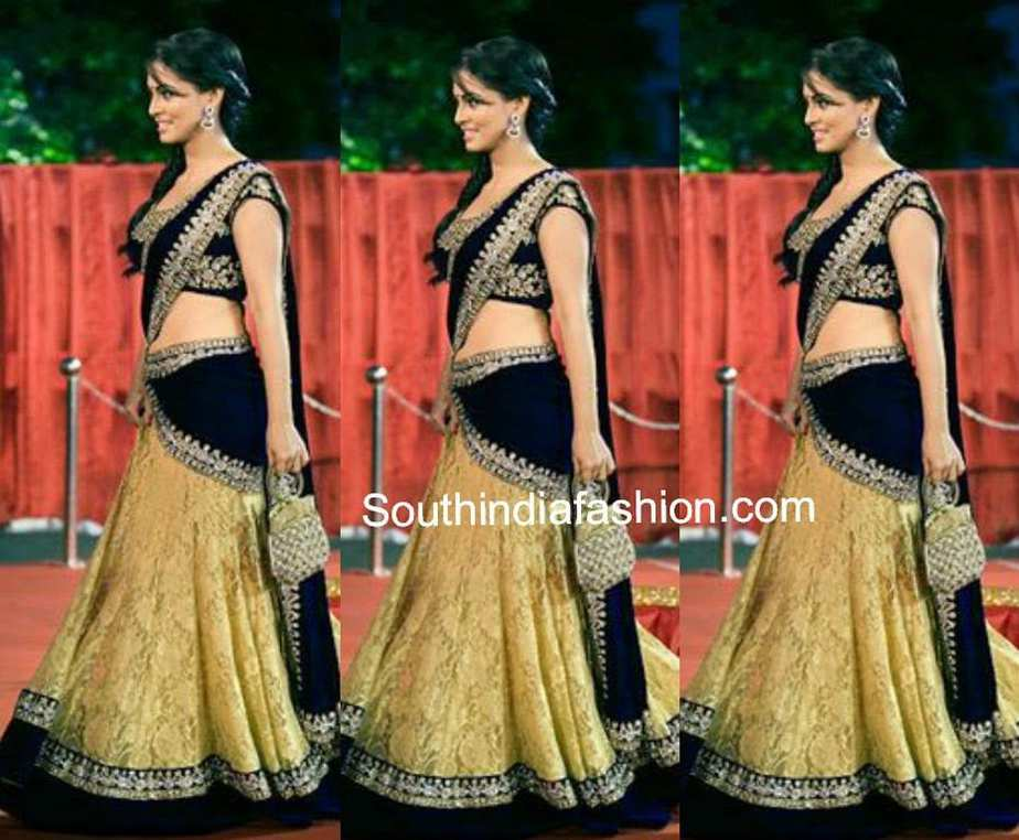 Elegant Black and Gold Half Saree – South India Fashion Sabyasachi Anarkali 2014