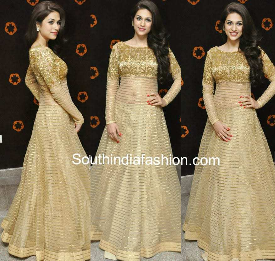 shradda das gold color anarkali