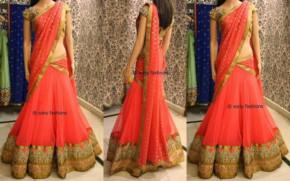 Lovely Peach Half Saree – South India Fashion Sabyasachi Bridal Collection Price Range