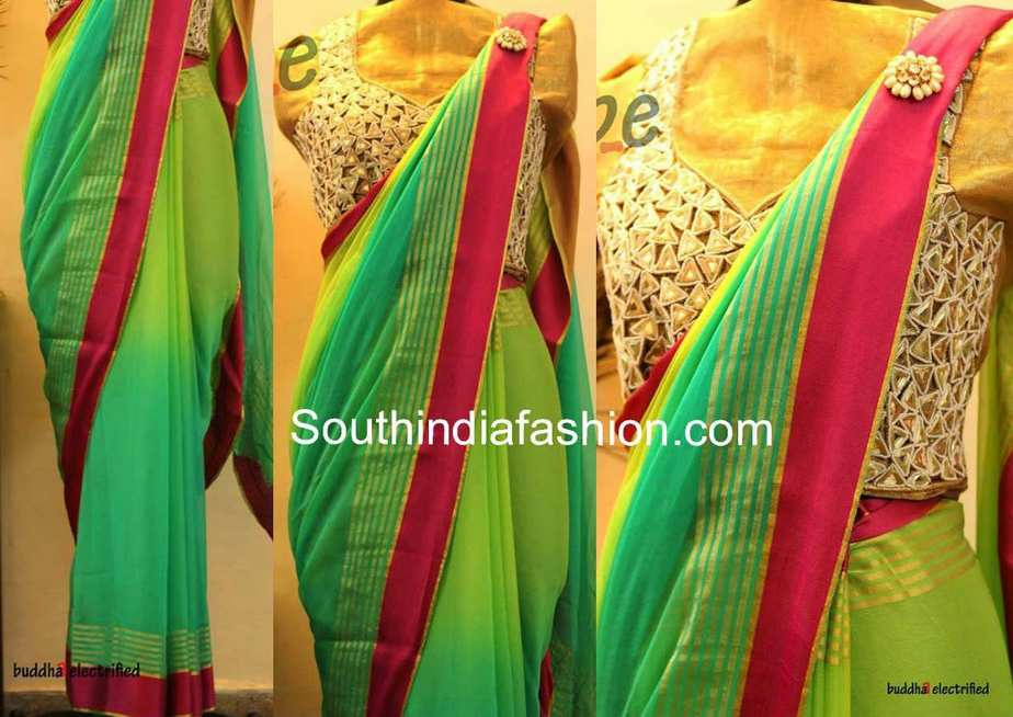 Green georgette saree with mirror work blouse south india for Mirror work saree