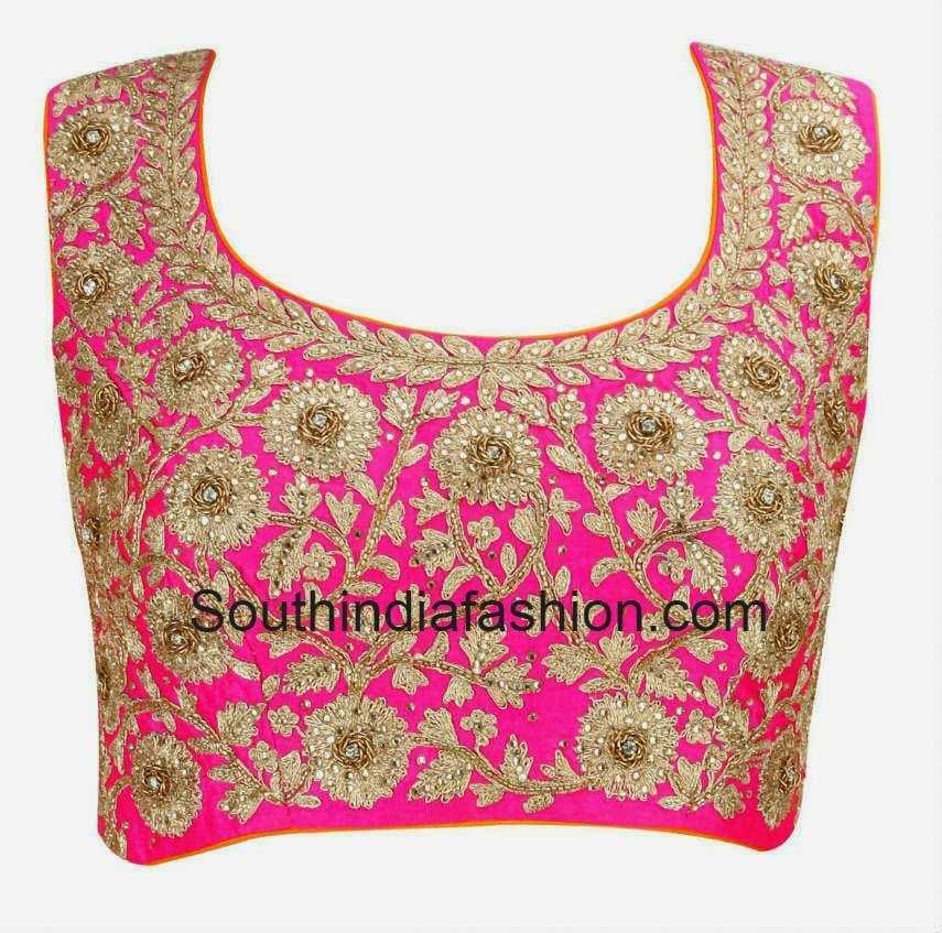 Embroidered Silk Blouse U2013South India Fashion