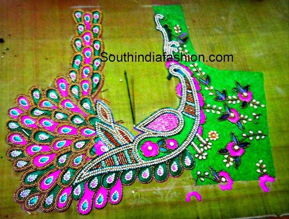 Peacock Maggam Work Blouse Design U2013 South India Fashion