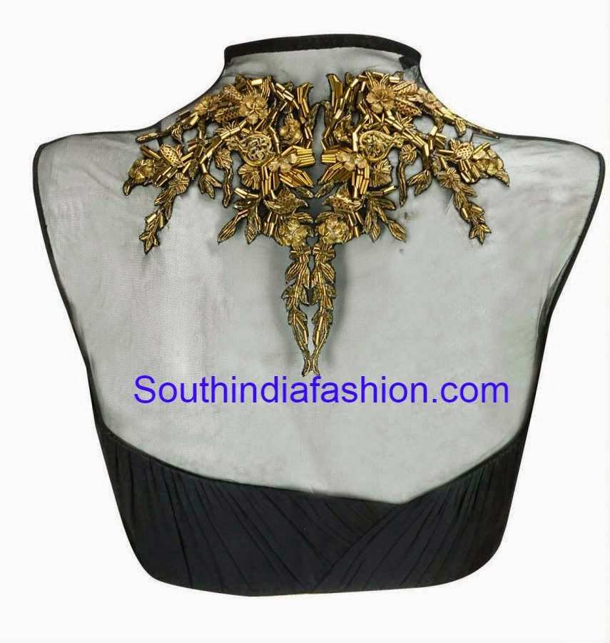 Trendy Net Blouse With Metallic Embroidery South India