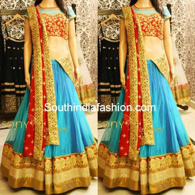 blue and red designer half saree