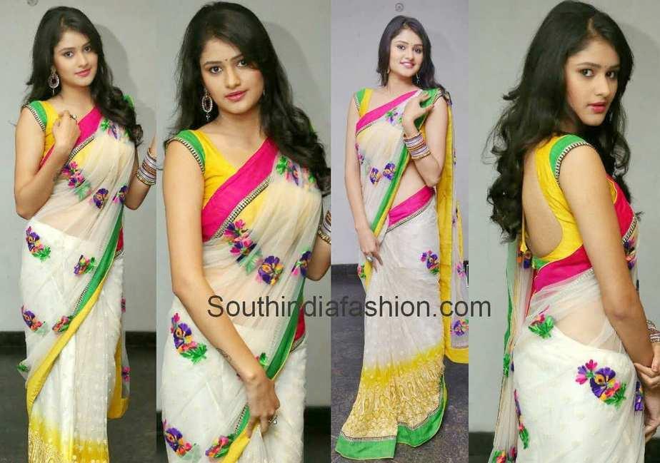 actress kushi in white saree