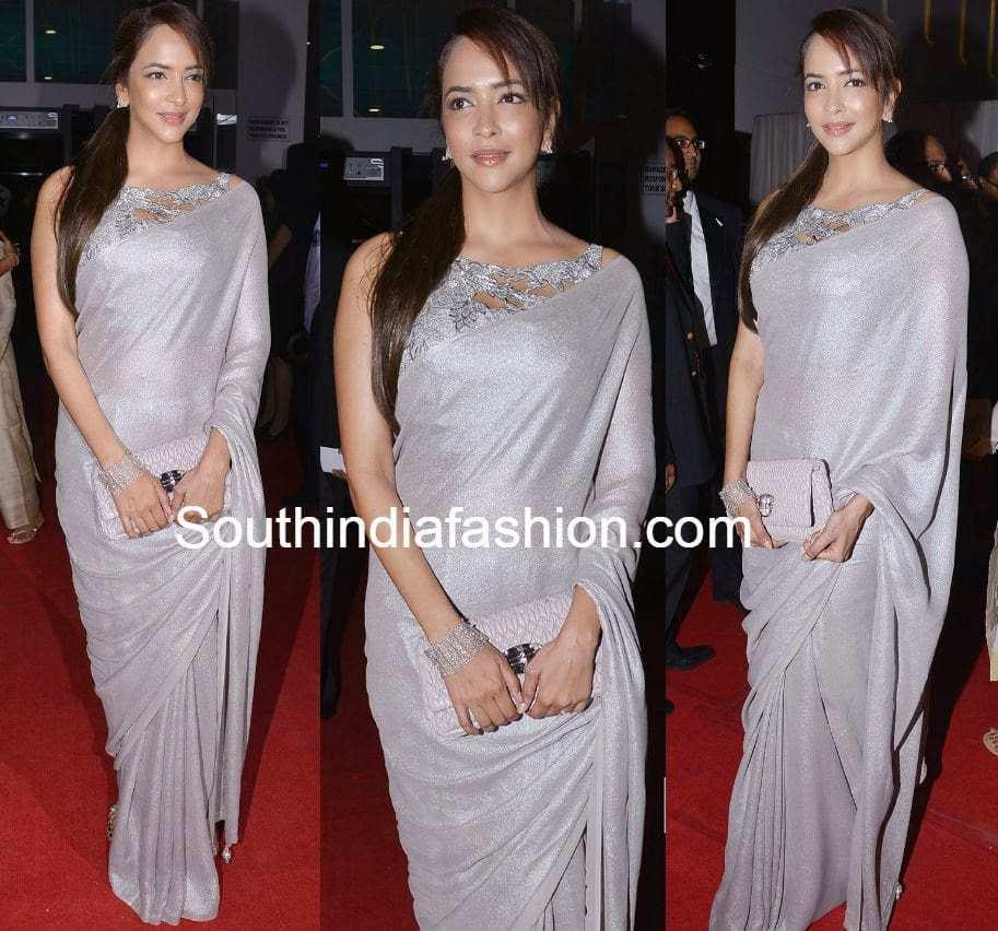 lakshmi manchu in silver shimmer saree