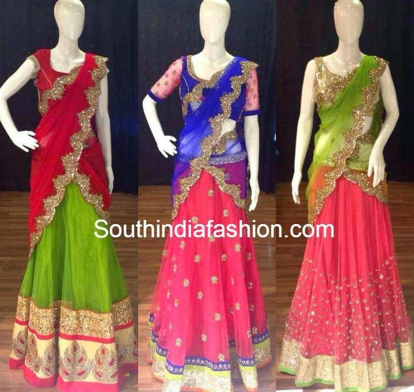 sequin work half sarees � south india fashion