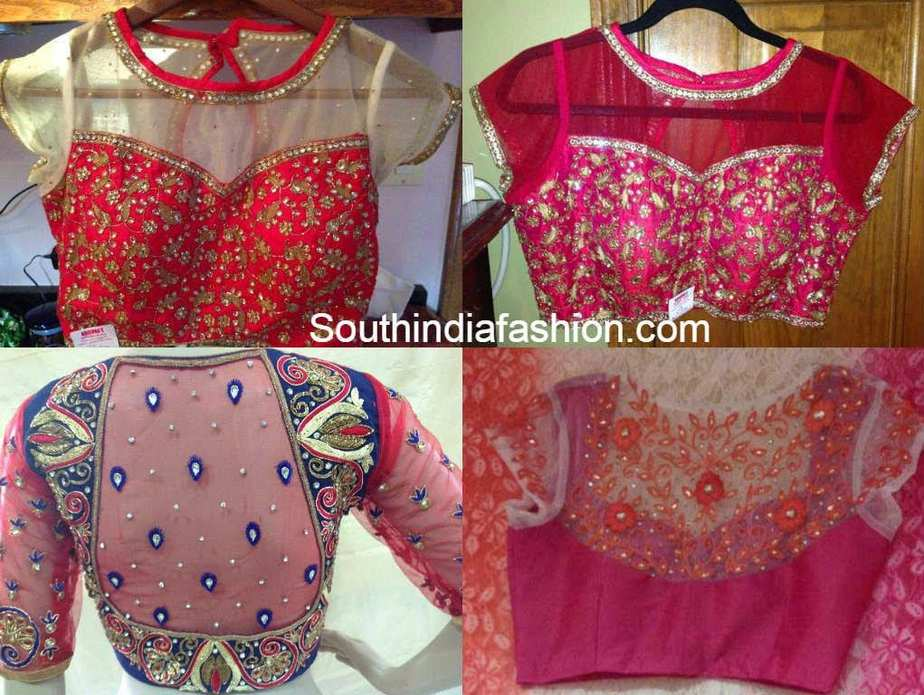 Trendy net blouse designs south india fashion for Net designs