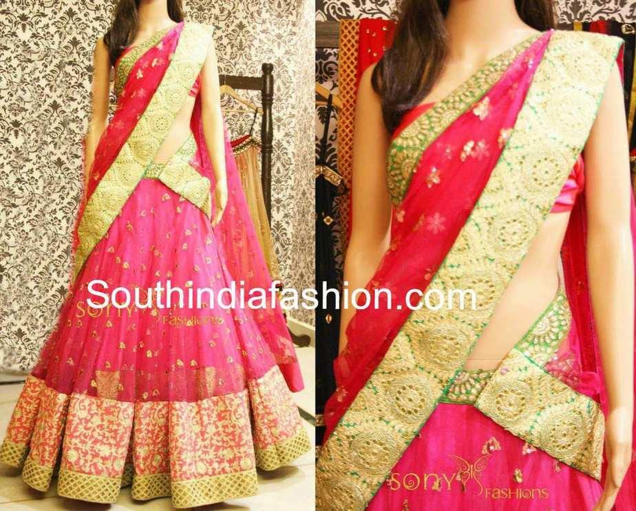 Elegant bridal half saree south india fashion for Wedding dresses usa online shopping