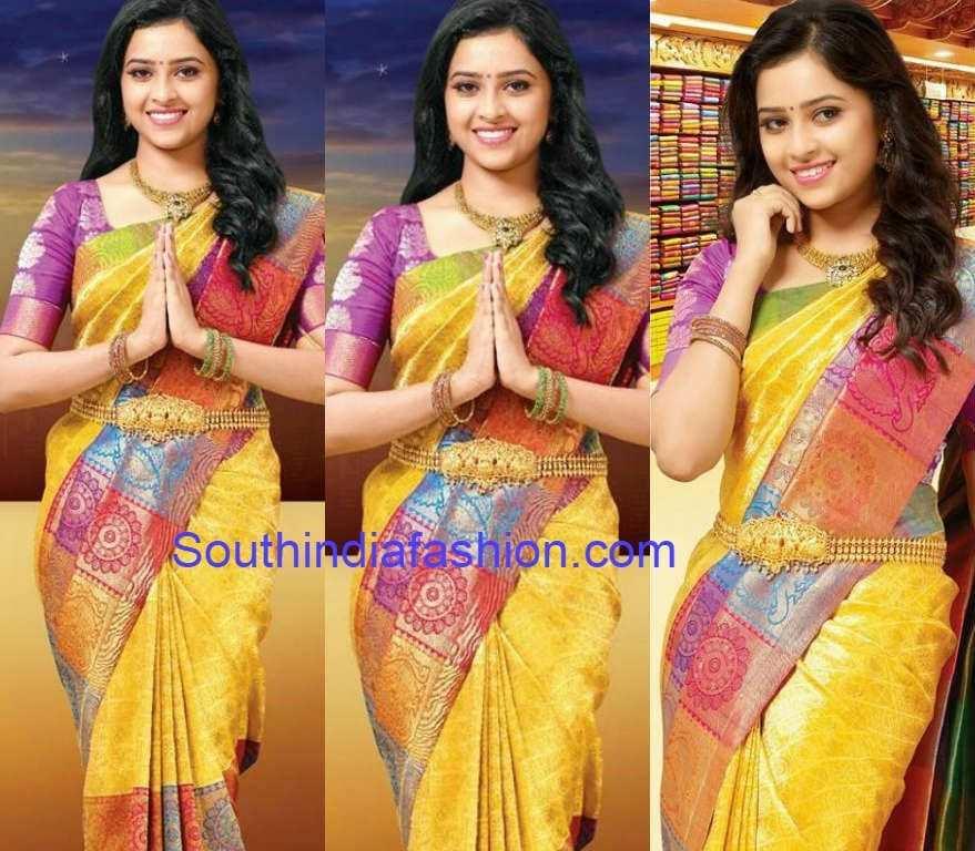 Sri Divya in Chennai Silks Bridal Saree – South India Fashion