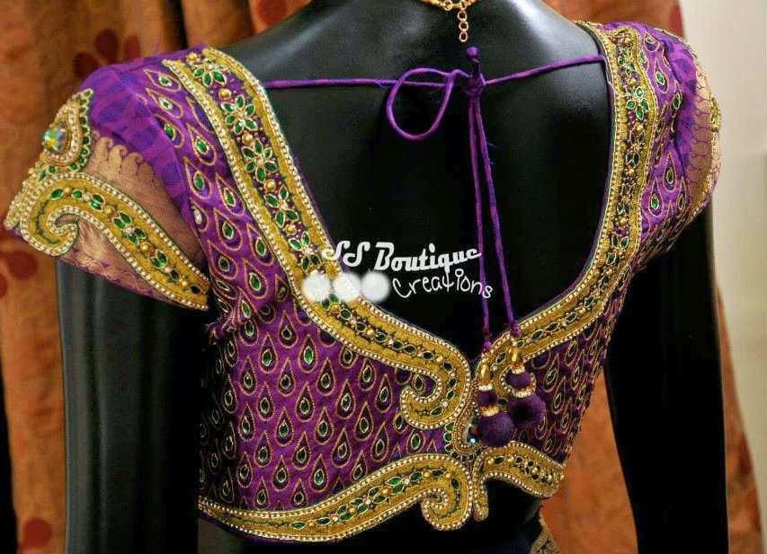 Kundan Work Wedding Blouse South India Fashion