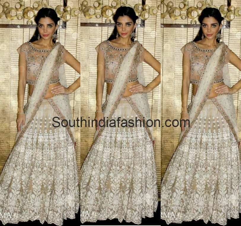 white designer lehenga by anjali sharma french curve